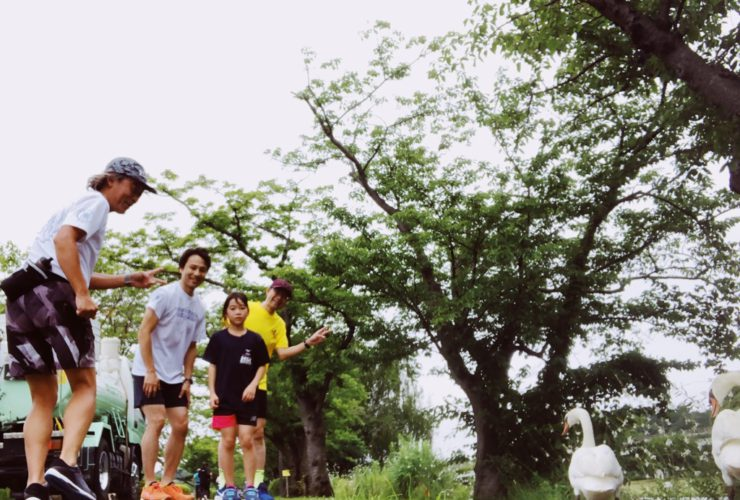 千波湖でイエロー供走会の練習会